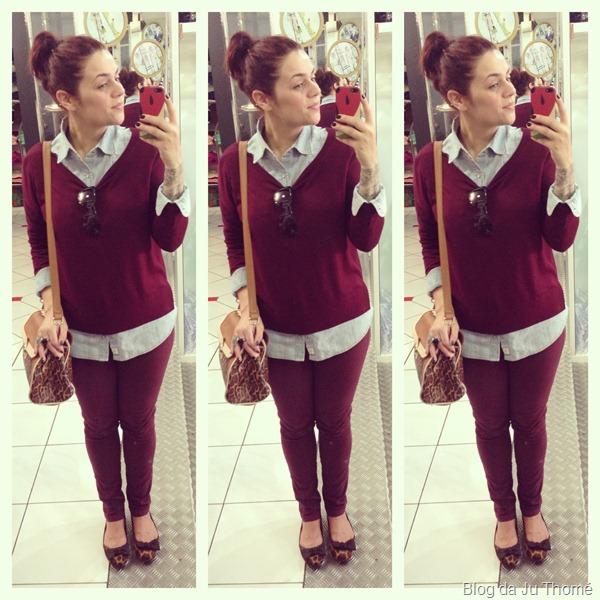 look burgundy vinho bordô camisa jeans e onça