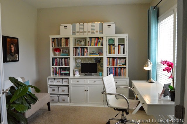Gray, White, & Blue Home Office