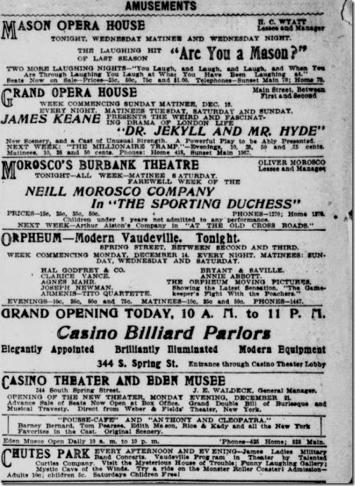 Casino Billard Parlor Opens Today Los Angeles Herald, Vol XXXI, No. 76, 15 Dec 1903