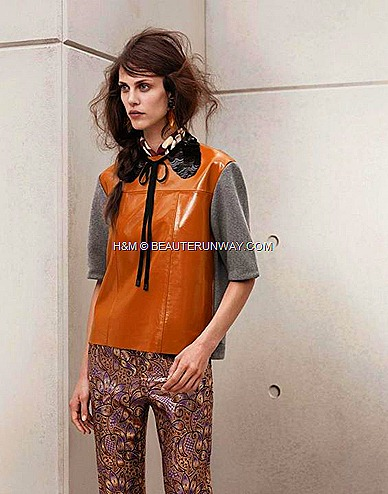 Marni H&M Patent Leather Top, Printed trousers, Sequin Collar Black Peter Pan