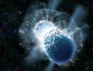 ilustração mostra a colisão das estrelas de nêutrons
