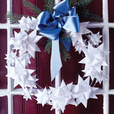 folded star paper Christmas wreath