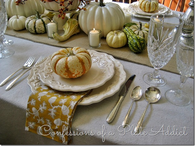 CONFESSIONS OF A PLATE ADDICT Thanksgiving Tablescape...Bittersweet, Pumpkins and Mercury Glass