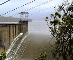 Awoonga Dam, near Gladstone, in Central Queensland, Australia overflows during 'unprecedented' rainfall on 26 January 2013. Photo: Gladstone Region Local Disaster