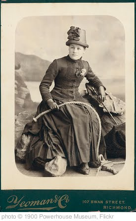 'Young woman seated on a rock with rope, 1850' photo (c) 1900, Powerhouse Museum - license: http://www.flickr.com/commons/usage/