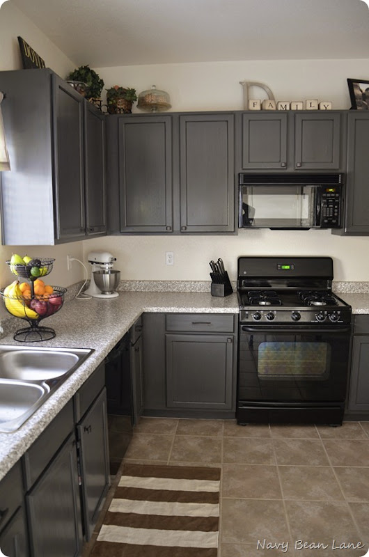 Navy Bean Lane Gray Kitchen Cabinets Before After - Light grey painted kitchen cabinets