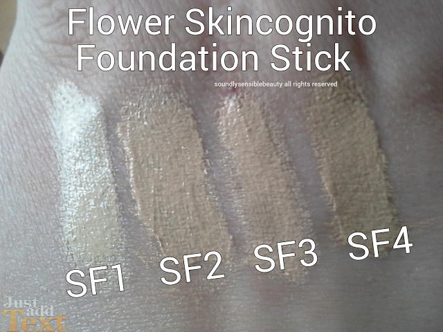Flower Beauty SkinCognito Foundation Stick Swatches of Shades- SF1, SF2, SF3, SF4