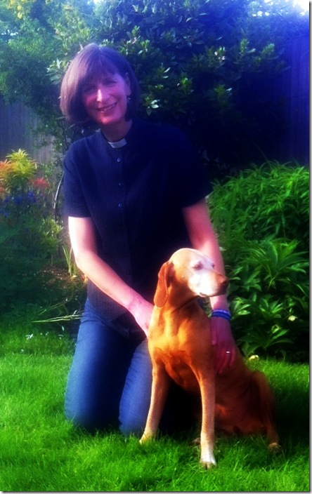 Revd Claire with her dog Anca