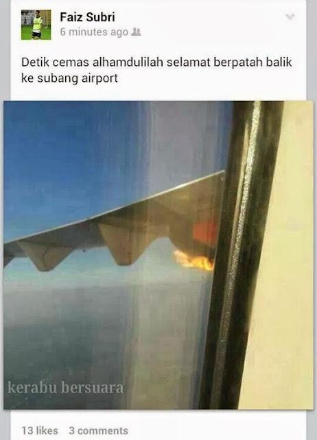 TERKINI! Sayap Kapal Terbang Bawa Pemain Ganu Terbakar!