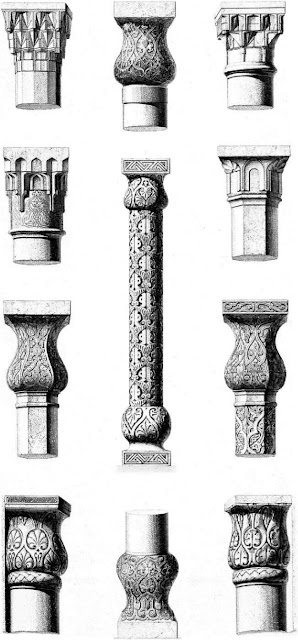 Columns & pillars, ensemble & details. Columns and pillars serve a universal function but bear vaned ornamentation. Often removed from one building to be used in another, they could be a key medium for transmitting designs, an attractive idea when materials like marble were not available locally.
