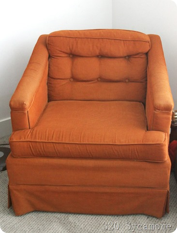 vintage orange chair before