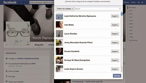 Cómo sugerirle amigos a un contacto de Facebook