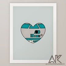 R2D2 Valentine Art Print by August Decorous on Society6