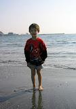 Kai getting his feet wet at Zushi beach