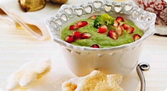 Crema di broccoli e chicchi di melagrana