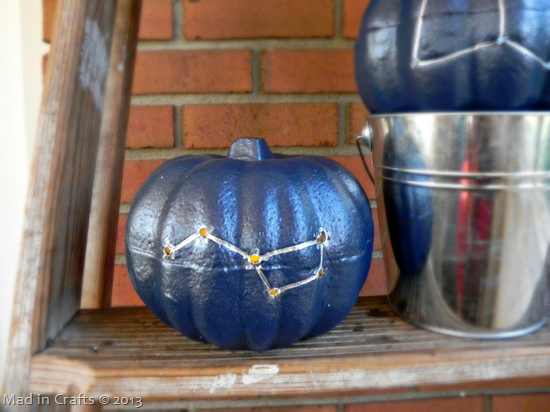 Drilled Constellation Pumpkins - pearlized mod podge spray
