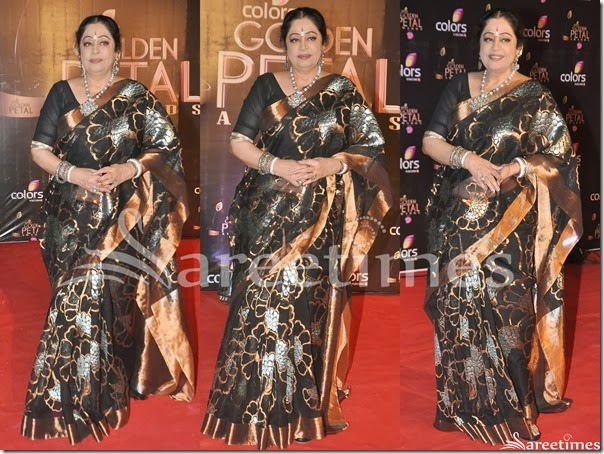Kirron_Kher_Black_Net_Saree