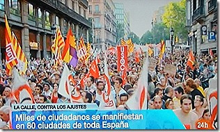 Milhares dizem não aos cortes de Rajoy.Jul.2012