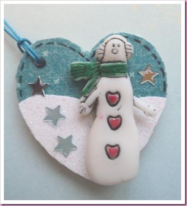 Wooden Heart Tag Snowman
