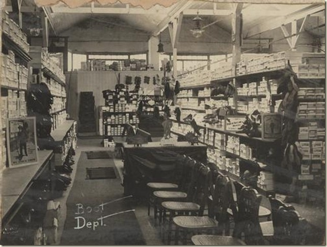 Boot department inside Lennons Drapers