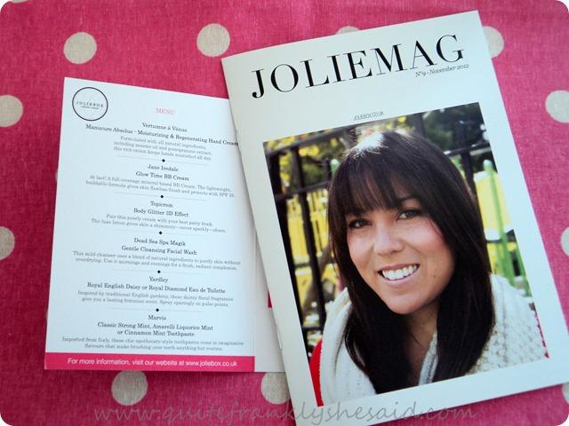 November Joliebox Beauty Box menu