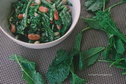 three bean kale salad