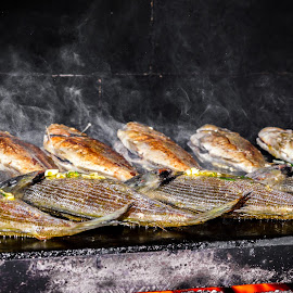 Fish by Lovro Katalinić - Food & Drink Cooking & Baking ( food, fish, barbecue, smoke, fire )