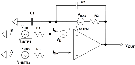 Op amp noise model with reactive elements (second-order system)