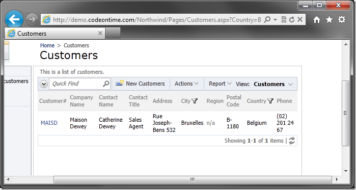 Customers grid view with two filters applyed using URL parameters.