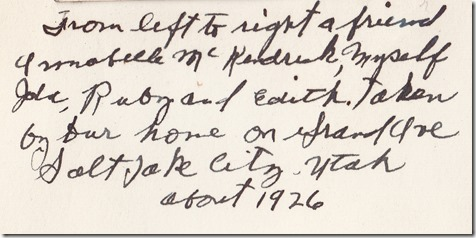 Ingrid's Writing Under A Photo of her and her sisters