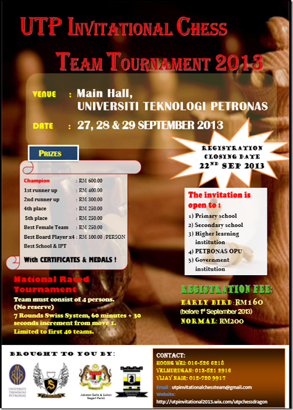 flyer UTP Invitational Chess Team Tournament 2013
