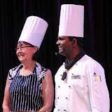 Sue With Her Chef Teammate Awaiting Their Chance To Cook - Celebrity Summit