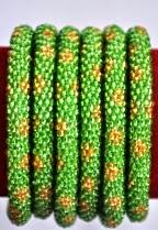 Green rollover bracelet flower green