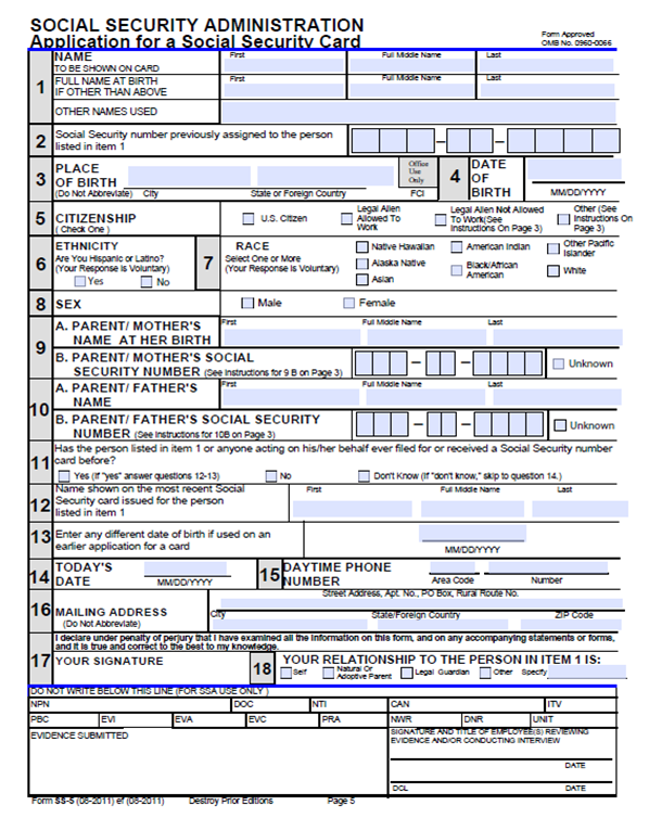 social security form ss-5