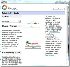 picasa can order prints from snapfish directly