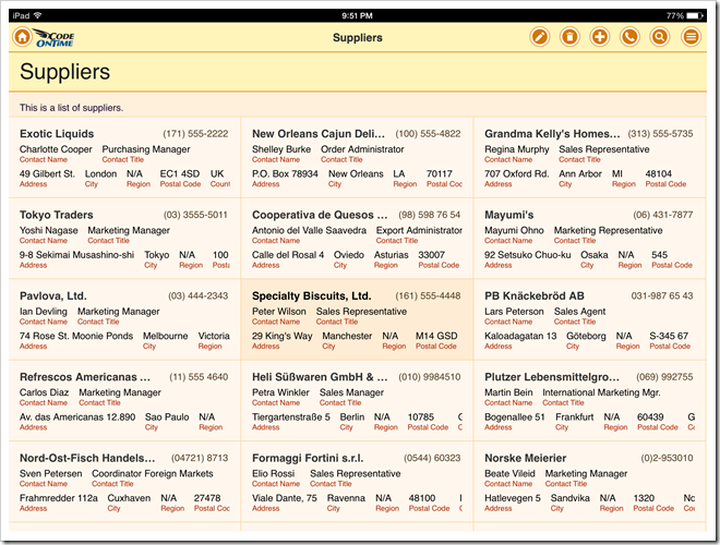 List with the fields tagged as 'item-heading', 'item-desc', 'item-para', and 'item-aside' in an app with Touch UI.