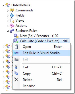 Edit Rule in Visual Studio context menu option for a code business rule.