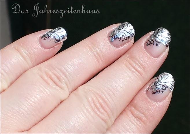 Nageldesign Silvester Glitzer Feuerwerk Silber elegant edel 10