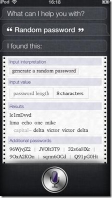 Usare Siri per creare password casuali