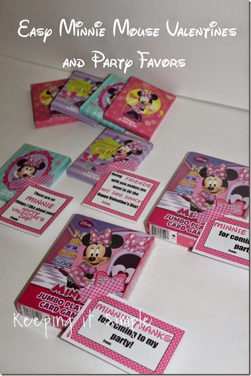Easy No Candy Minnie Mouse Valentine with Printable