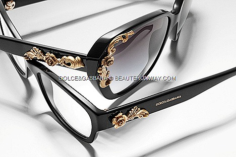Dolce&Gabbana Sicilian Baroque Fall Winter 2012 2013 designer eyewear collection designs DG2121, D3150 D4167 gold romantic roses glided leafs adds instant glamour black, brown, grey, green caramel opaline frame boutiques optical