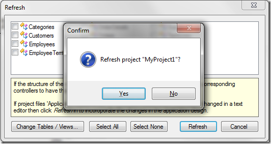 Confirming refresh of the project.