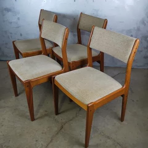 set of 4 mid century danish modern teak d ch 100