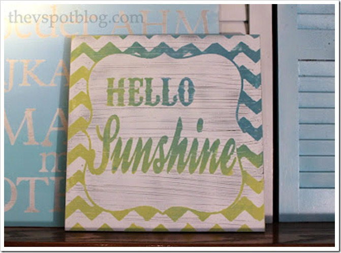 distressed sign, shabby chic, hello sunshine, ombre, apple green, aqua, turquoise
