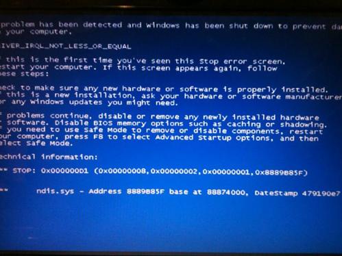 แนวทางการแก้ปัญหาจอฟ้า Driver IRQL NOT LESS OR EQUAL ndis.sys bluescreen