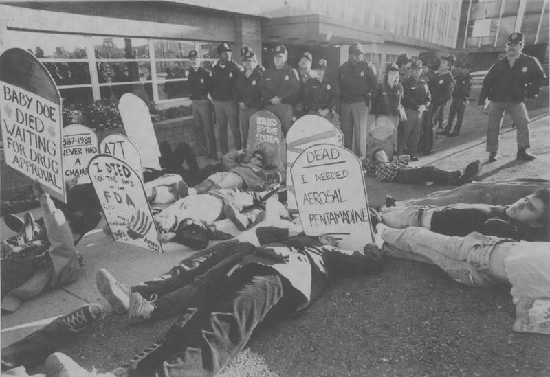 ACT UP protests the slow drug approval process at the Food and Drug Administration (FDA) offices in suburban Washington, D.C. October 11, 1988.