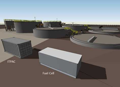 A depiction of one of Microsoft's server-filled IT PAC data center modules paired with a fuel cell at a water treatment plant. Microsoft is contemplating this approach for its first grid-independent Data Plant. Image: Microsoft