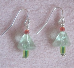 2011 Beaded gifts..small see thru green xmas tree earrings