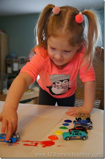 Rainbow Painting with Cars Kids Activities