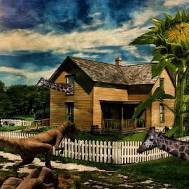 Guess Who's Coming for Dinner by Nancy Brizendine - Digital Art Places ( fantasy, fence, sky, park, giraffe, dinosaur, sunflower, house )